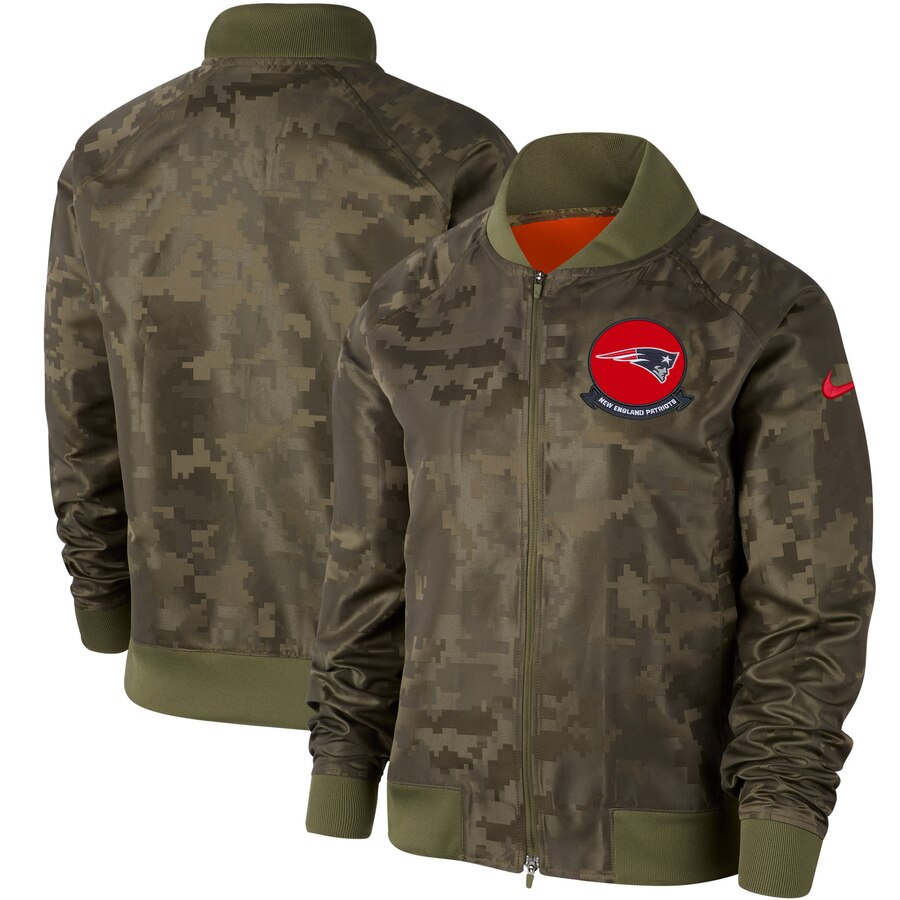 Women's New England Patriots Nike Olive 2019 Salute to Service Full-Zip Bomber Jacket