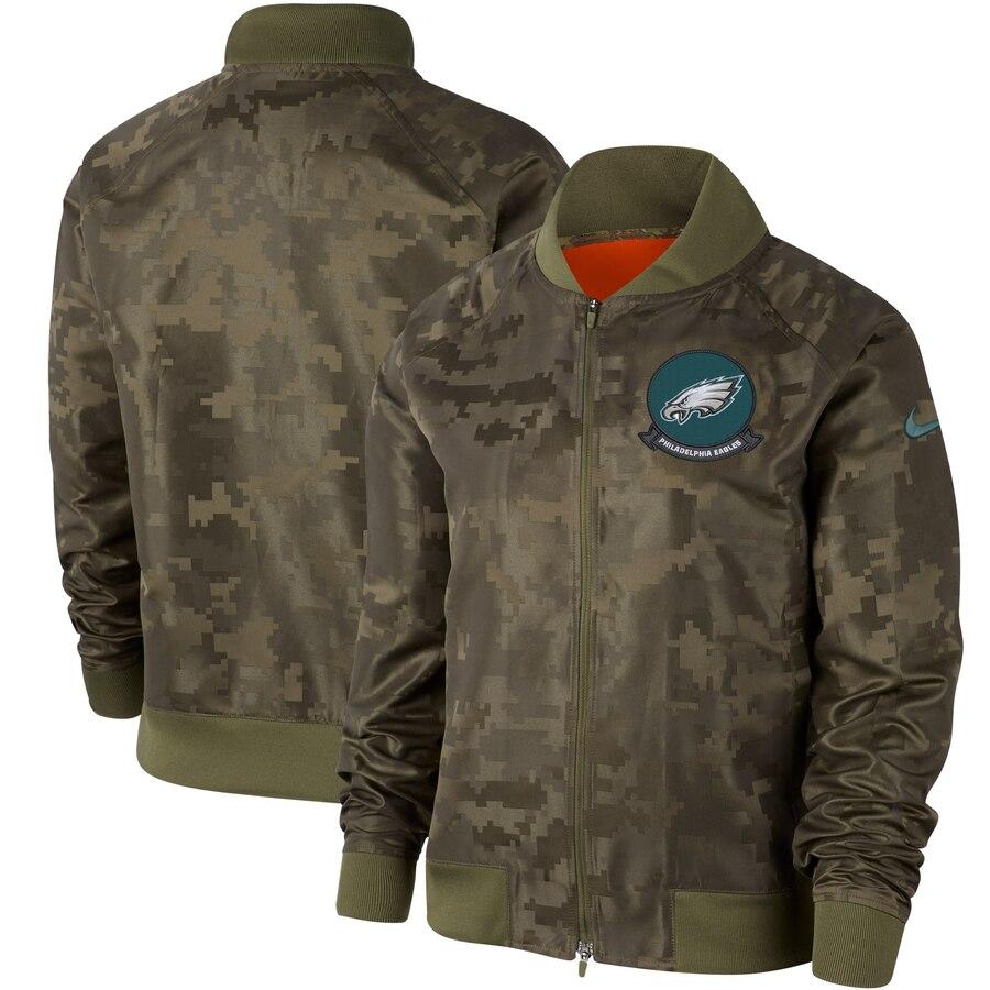 Women's Philadelphia Eagles Nike Olive 2019 Salute to Service Full-Zip Bomber Jacket