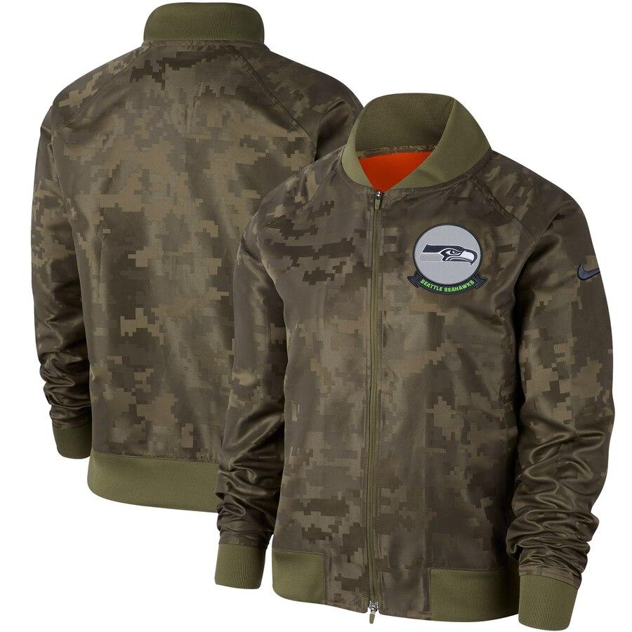Women's Seattle Seahawks Nike Olive 2019 Salute to Service Full-Zip Bomber Jacket