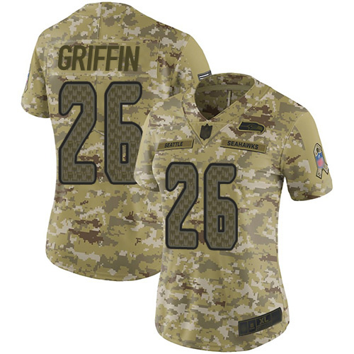 Nike Seahawks #26 Shaquem Griffin Camo Women's Stitched NFL Limited 2018 Salute to Service Jersey