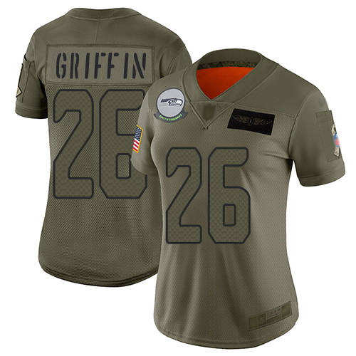 Nike Seahawks #26 Shaquem Griffin Camo Women's Stitched NFL Limited 2019 Salute to Service Jersey