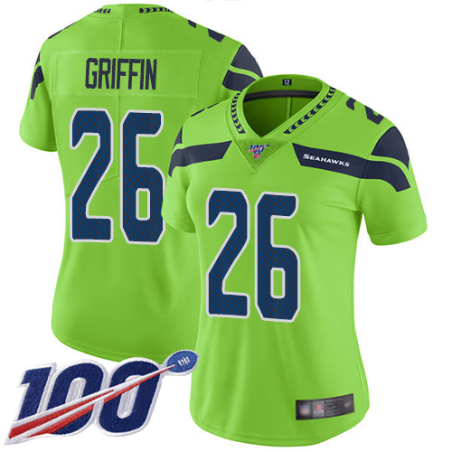 Nike Seahawks #26 Shaquem Griffin Green Women's Stitched NFL Limited Rush 100th Season Jersey