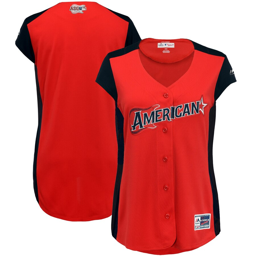 American League Blank Majestic Women's 2019 MLB All-Star Game Workout Team Jersey Red Navy