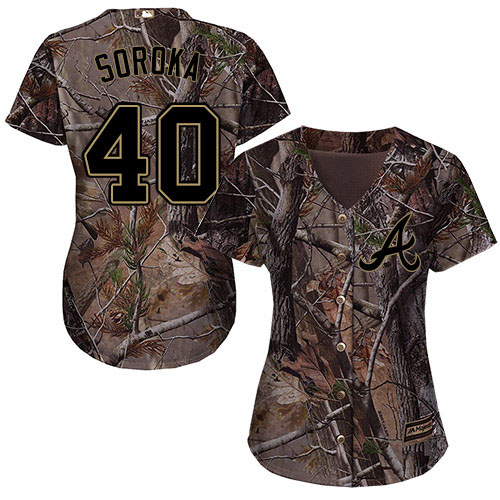 Braves #40 Mike Soroka Camo Realtree Collection Cool Base Women's Stitched MLB Jersey