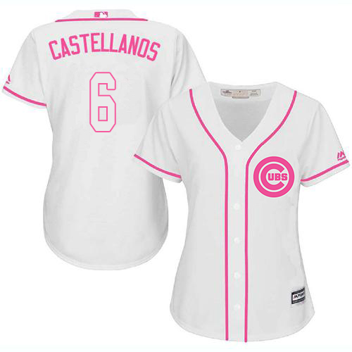 Cubs #6 Nicholas Castellanos White/Pink Fashion Women's Stitched MLB Jersey