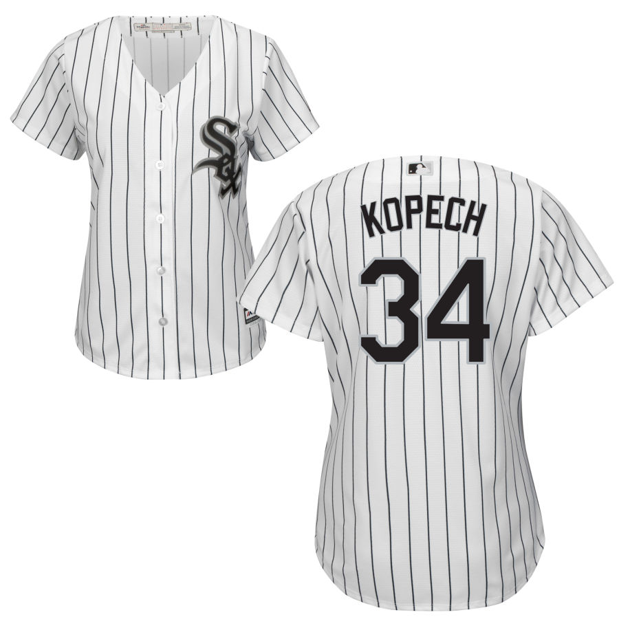 White Sox #34 Michael Kopech White(Black Strip) Home Women's Flexbase Authentic Collection Stitched MLB Jersey