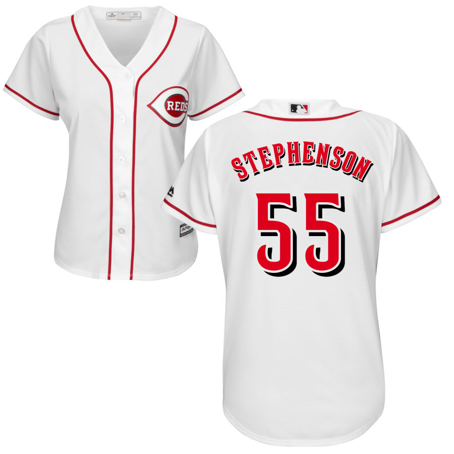 Cincinnati Reds #55 Robert Stephenson Majestic Women's Home Cool Base Jersey White