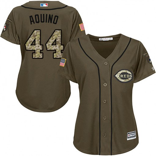 Reds #44 Aristides Aquino Green Salute to Service Women's Stitched MLB Jersey