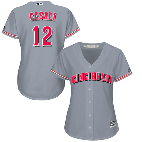 Reds #12 Curt Casali Grey Road Women's Stitched MLB Jersey