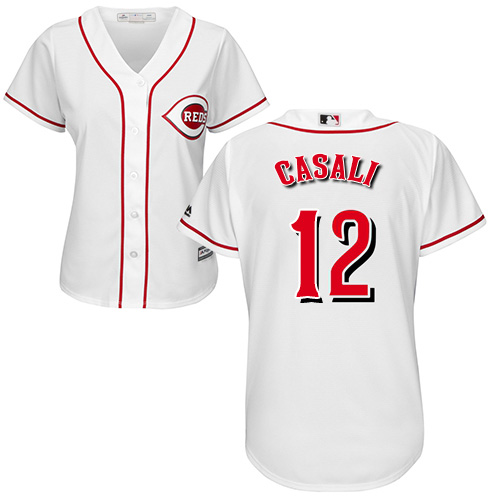 Reds #12 Curt Casali White Home Women's Stitched MLB Jersey