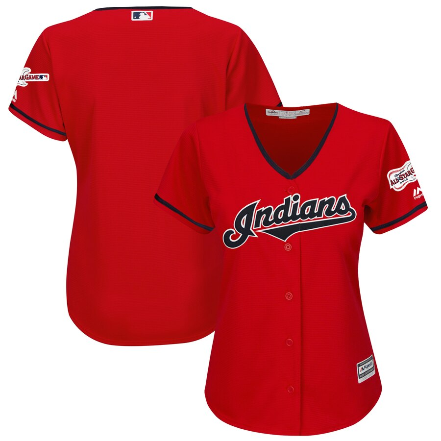 Cleveland Indians Blank Majestic Women's Alternate 2019 All-Star Game Patch Cool Base Team Jersey Scarlet