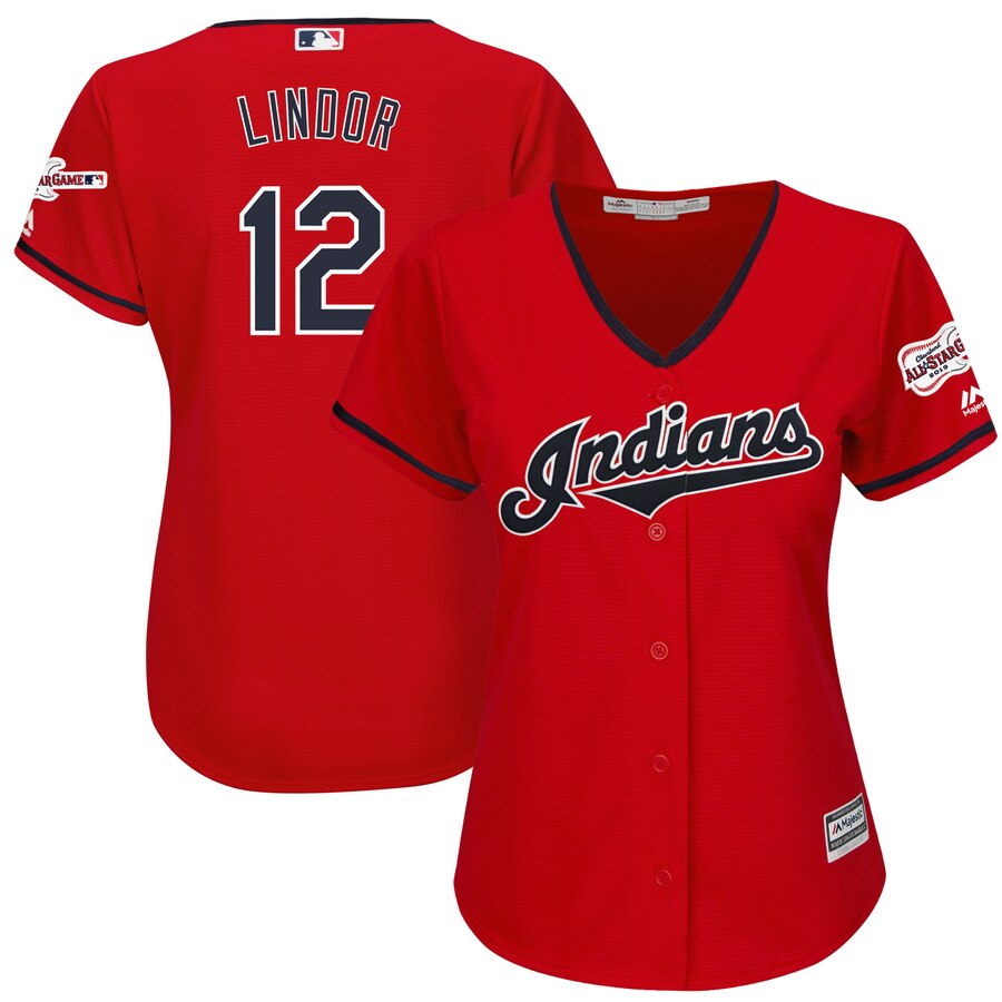 Cleveland Indians #12 Francisco Lindor Majestic Women's Alternate 2019 All-Star Game Patch Cool Base Player Jersey Scarlet