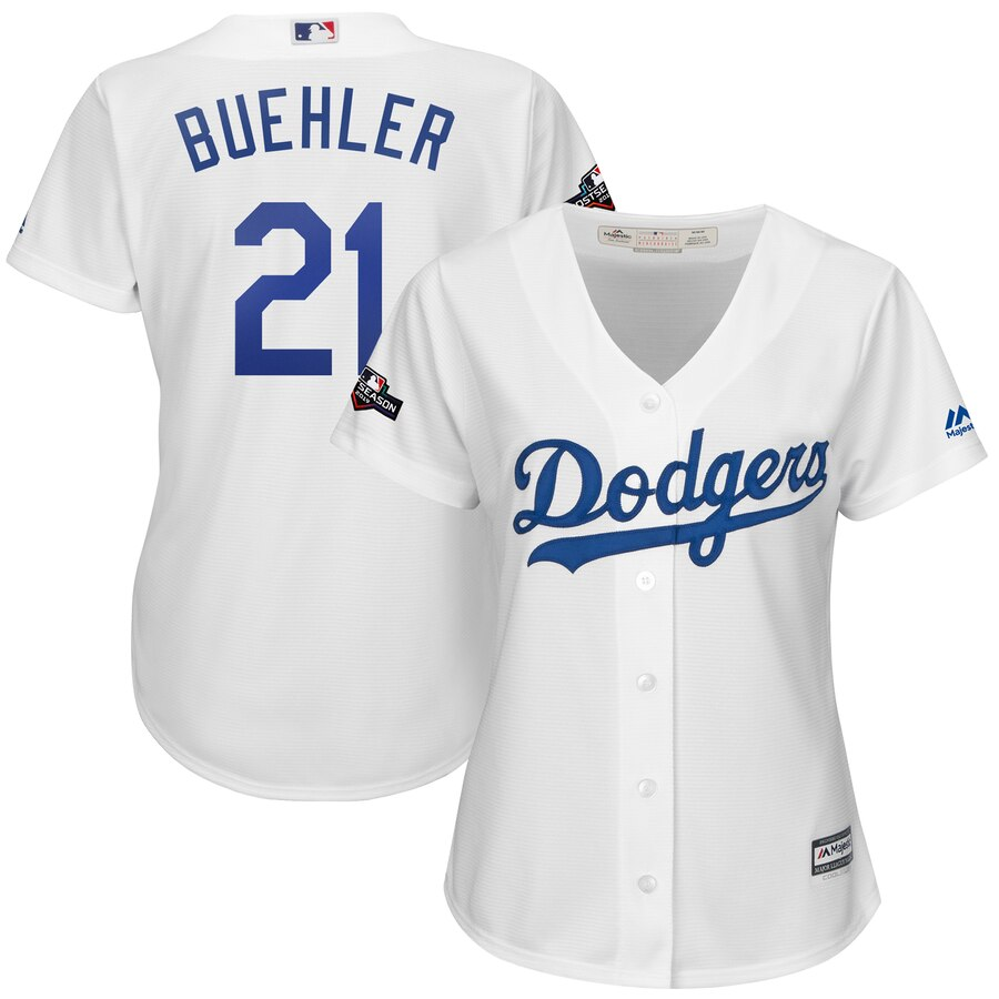 Los Angeles Dodgers #21 Walker Buehler Majestic Women's 2019 Postseason Home Official Cool Base Player Jersey White