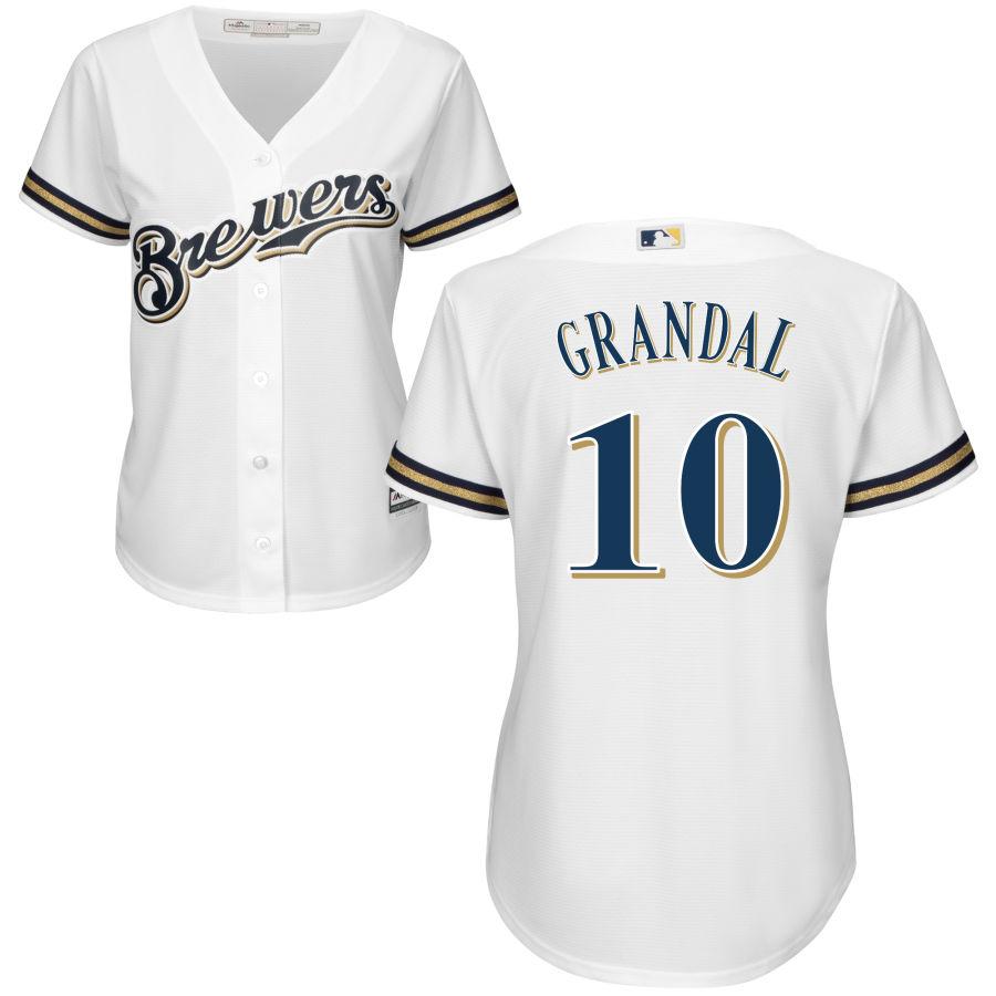 Brewers #10 Yasmani Grandal White Women's Home Cool Base Stitched MLB Jersey