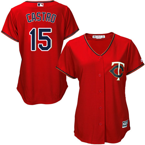 Twins #15 Jason Castro Red Alternate Women's Stitched MLB Jersey