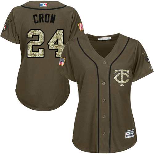 Twins #24 C.J. Cron Green Salute to Service Women's Stitched MLB Jersey