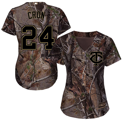 Twins #24 C.J. Cron Camo Realtree Collection Cool Base Women's Stitched MLB Jersey