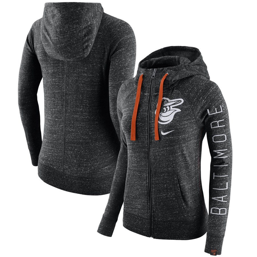 Baltimore Orioles Nike Women's Vintage Full-Zip Hoodie Heather Black
