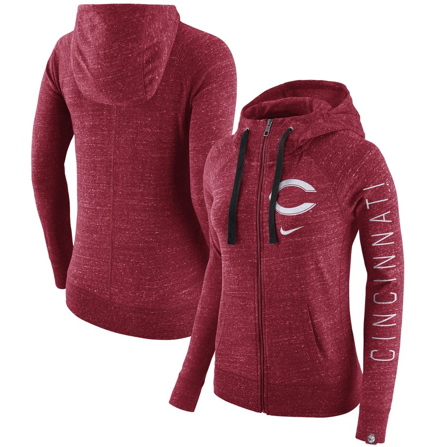 Cincinnati Reds Nike Women's Vintage Full-Zip Hoodie Heather Red
