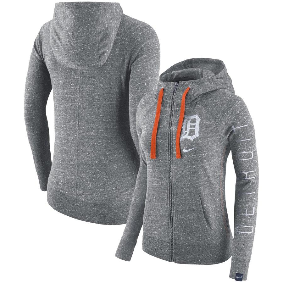 Detroit Tigers Nike Women's Vintage Full-Zip Hoodie Gray