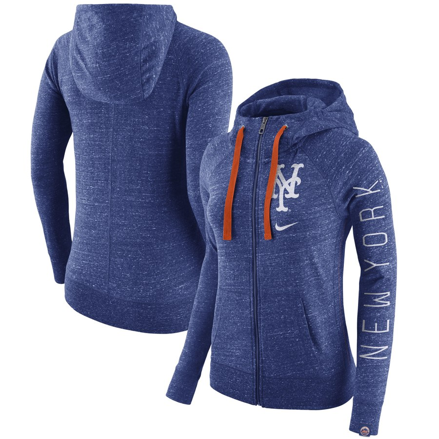 New York Mets Nike Women's Vintage Full-Zip Hoodie Heather Royal
