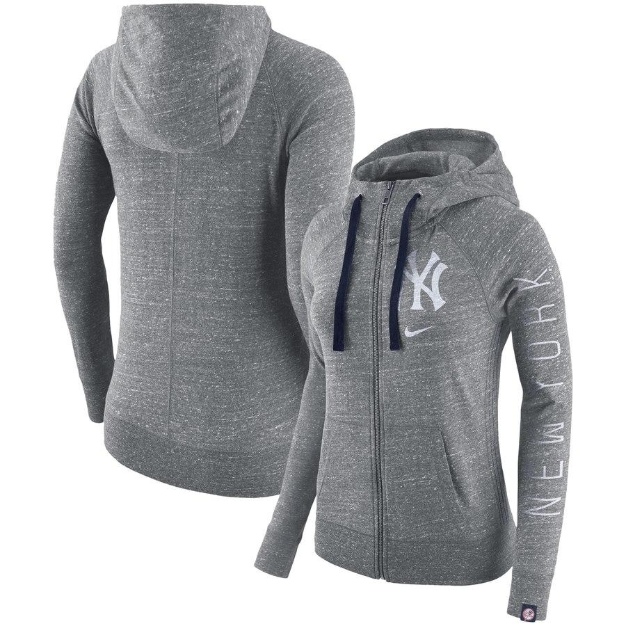 New York Yankees Nike Women's Vintage Full-Zip Hoodie Gray