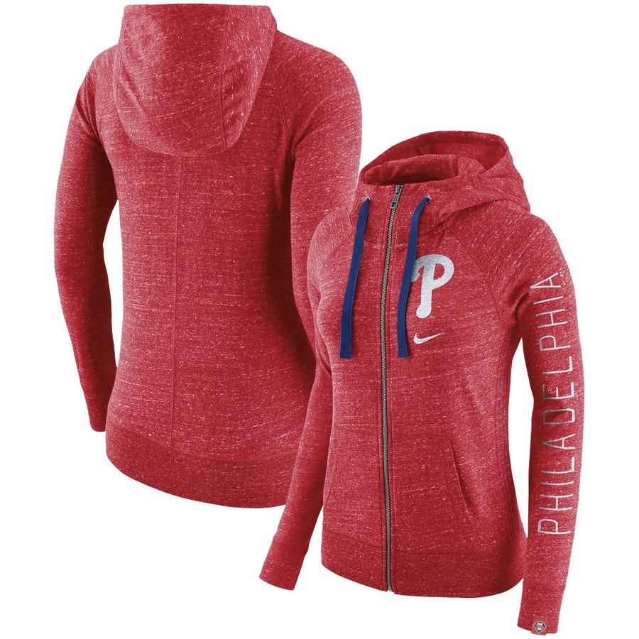 Philadelphia Phillies Nike Women's Vintage Full-Zip Hoodie Red