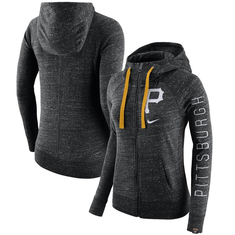 Pittsburgh Pirates Nike Women's Vintage Full-Zip Hoodie Heather Black