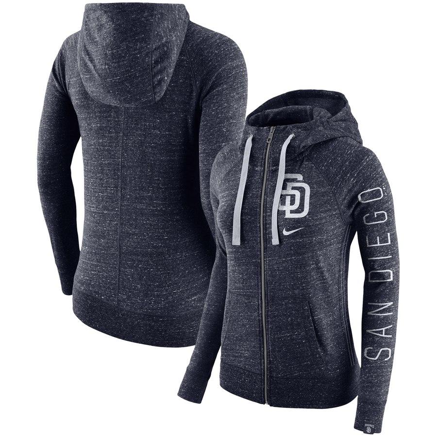 San Diego Padres Nike Women's Vintage Full-Zip Hoodie Navy