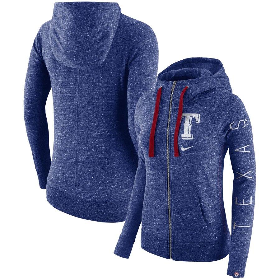 Texas Rangers Nike Women's Vintage Full-Zip Hoodie Royal
