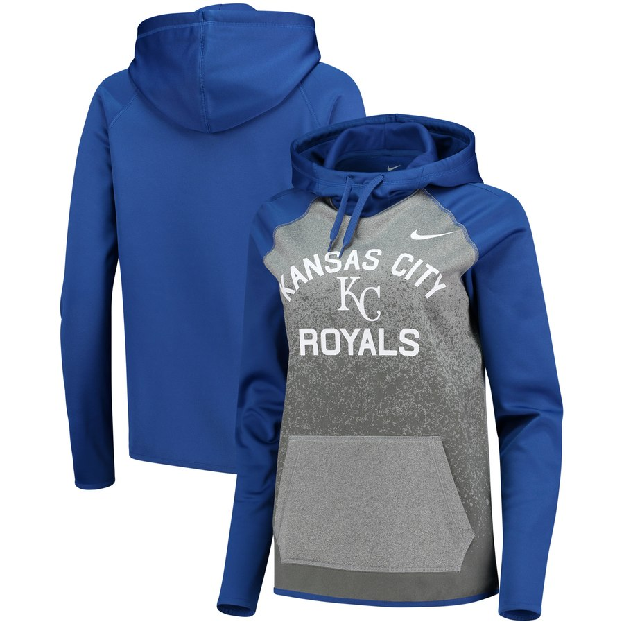 Kansas City Royals Nike Women's All-Time Therma Performance Pullover Hoodie Dark Gray