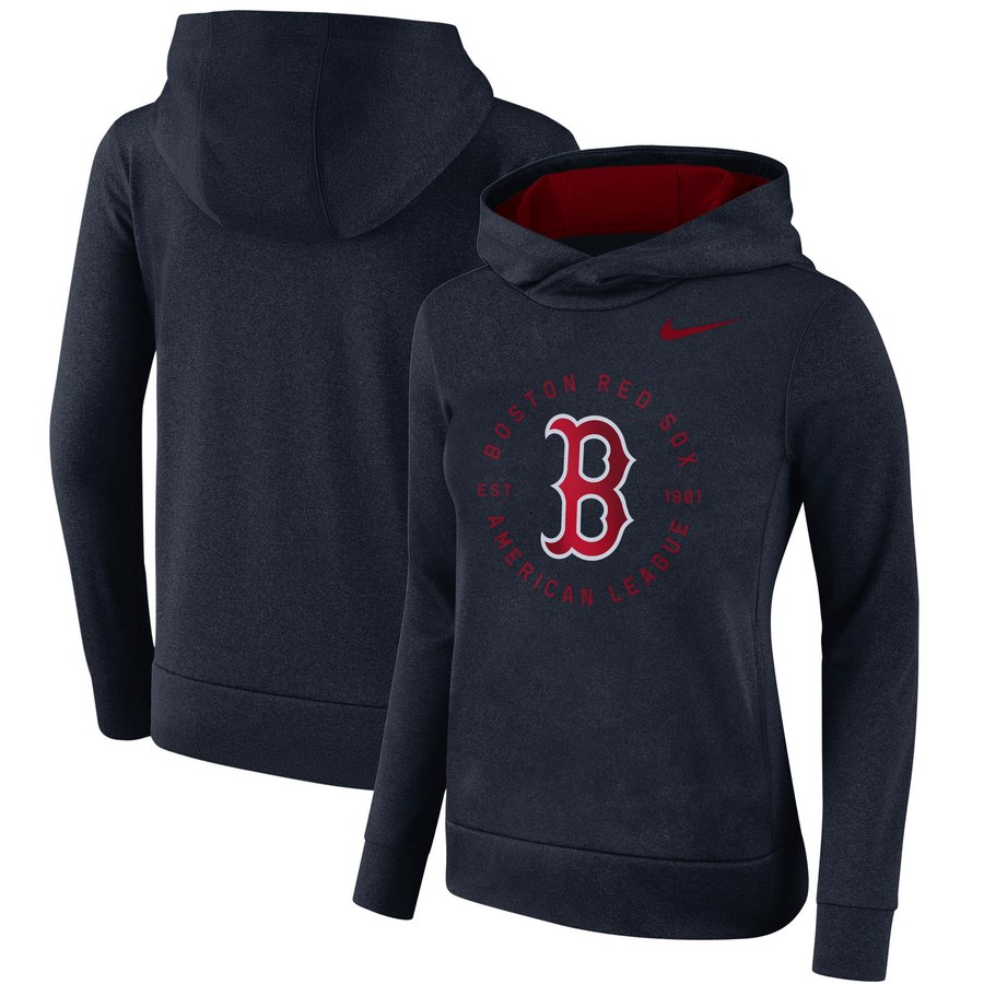 Boston Red Sox Nike Women's Therma Pullover Hoodie Navy