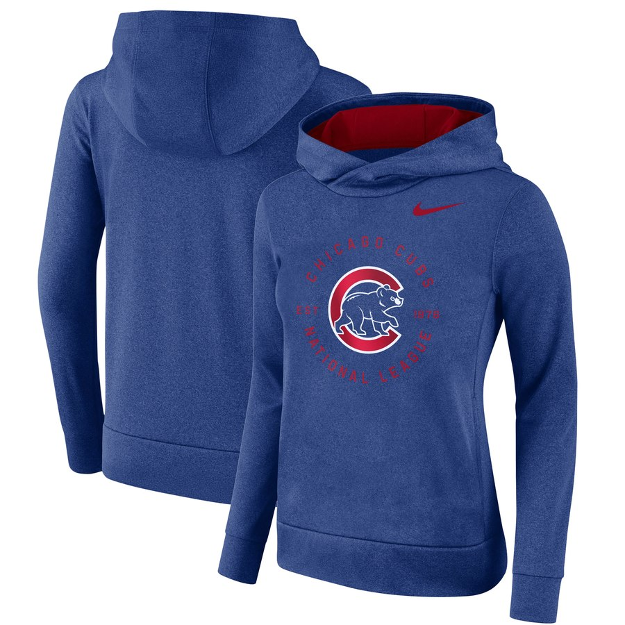 Chicago Cubs Nike Women's Therma Pullover Hoodie Royal