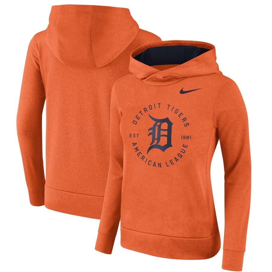 Detroit Tigers Nike Women's Therma Pullover Hoodie Orange