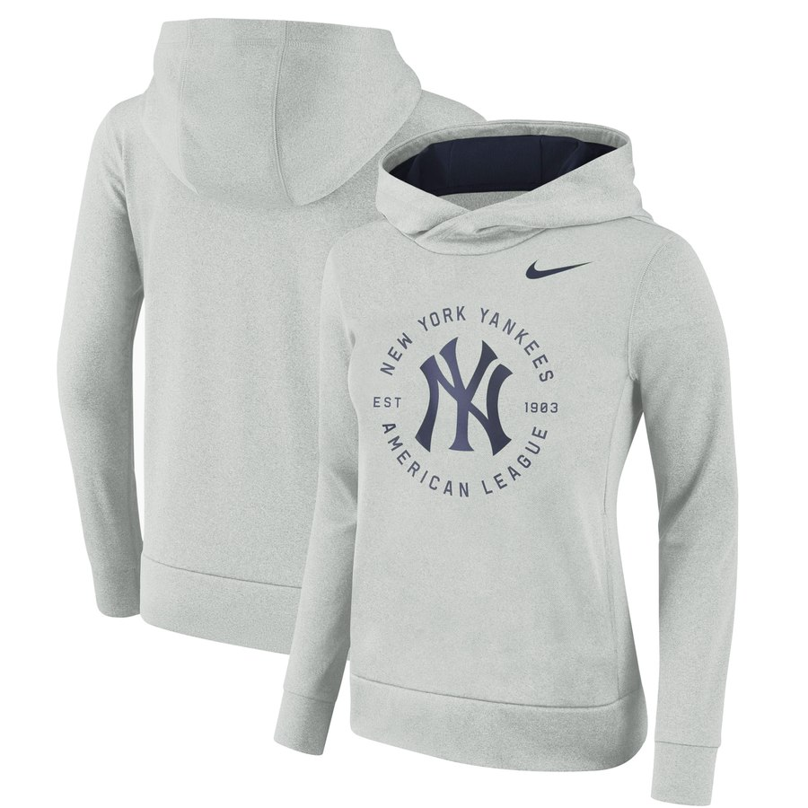 New York Yankees Nike Women's Therma Pullover Hoodie Gray