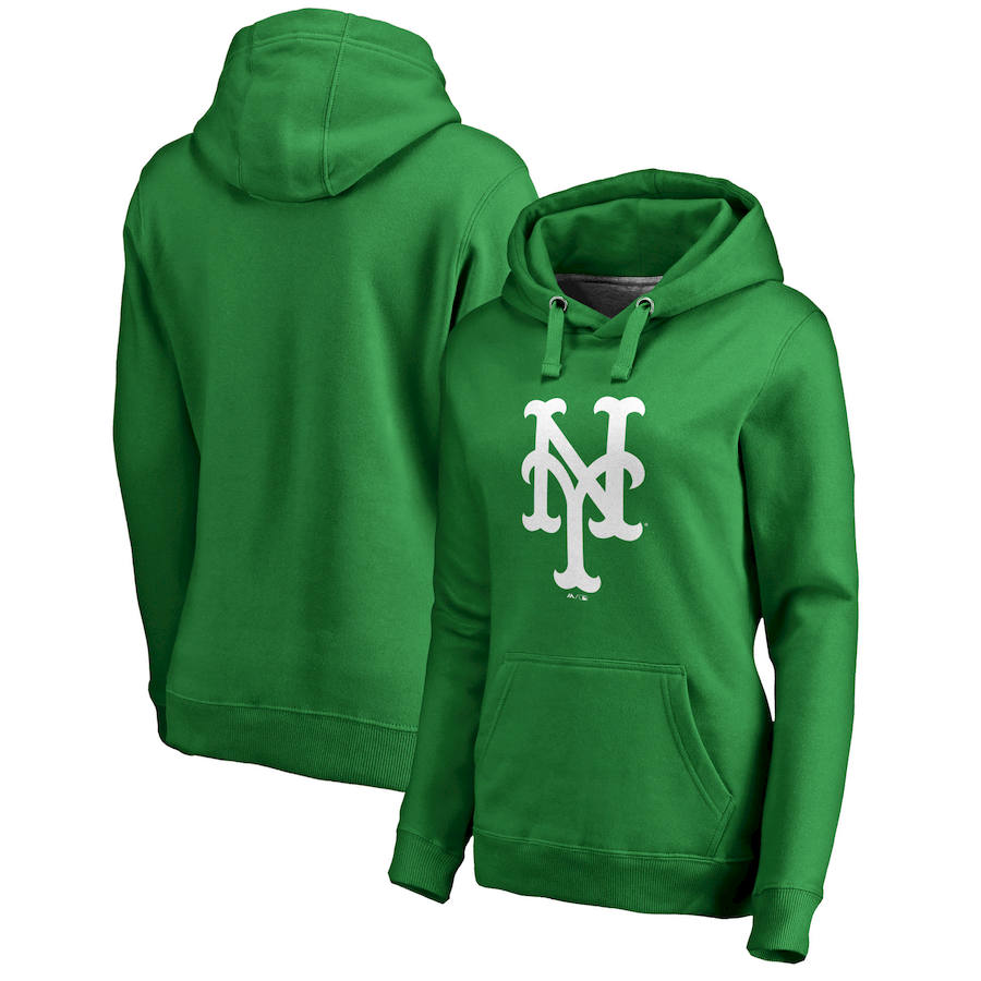 New York Mets Majestic Women's St. Patrick's Day White Logo Pullover Hoodie Kelly Green