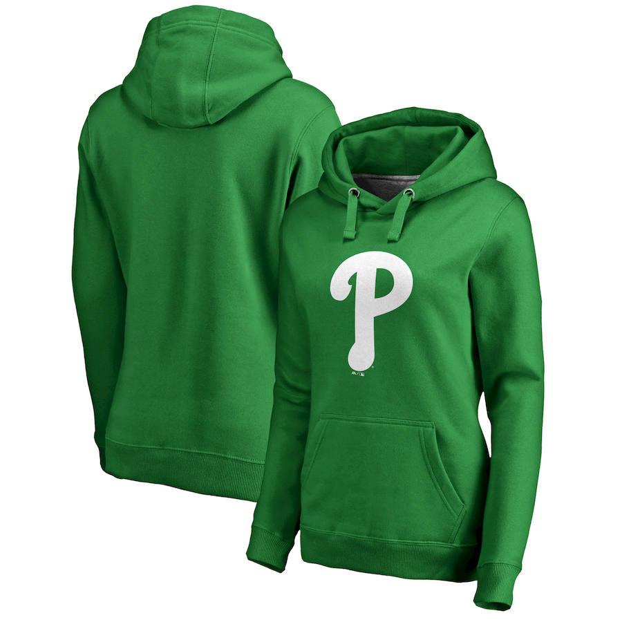 Philadelphia Phillies Majestic Women's St. Patrick's Day White Logo Pullover Hoodie Kelly Green