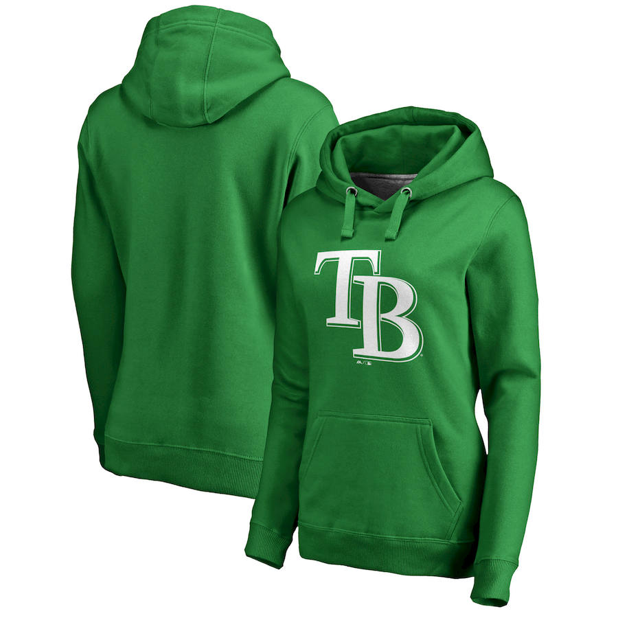 Tampa Bay Rays Majestic Women's St. Patrick's Day White Logo Pullover Hoodie Kelly Green