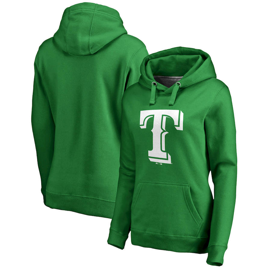 Texas Rangers Majestic Women's St. Patrick's Day White Logo Pullover Hoodie Kelly Green