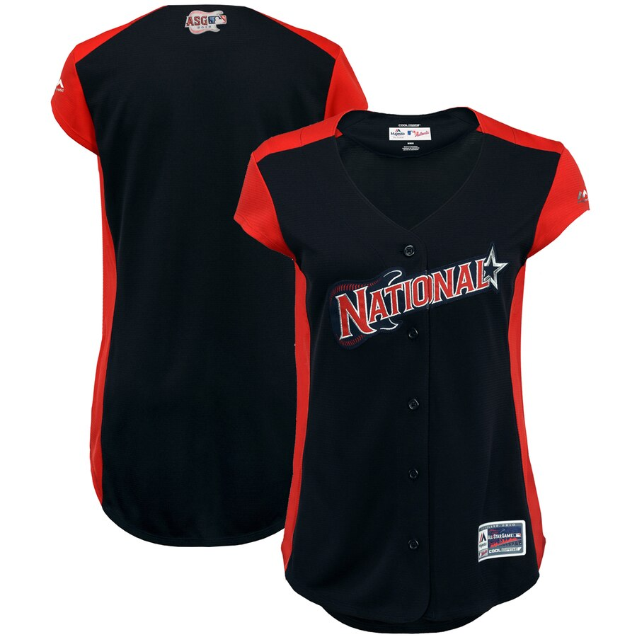 National League Blank Majestic Women's 2019 MLB All-Star Game Workout Team Jersey Navy Red