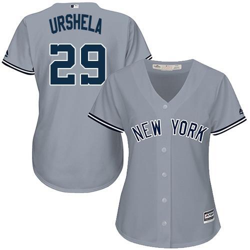 Yankees #29 Gio Urshela Grey Road Women's Stitched MLB Jersey