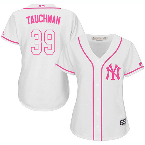 Yankees #39 Mike Tauchman White/Pink Fashion Women's Stitched MLB Jersey