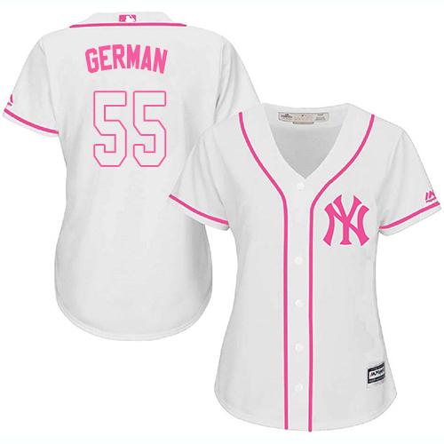 Yankees #55 Domingo German White/Pink Fashion Women's Stitched MLB Jersey