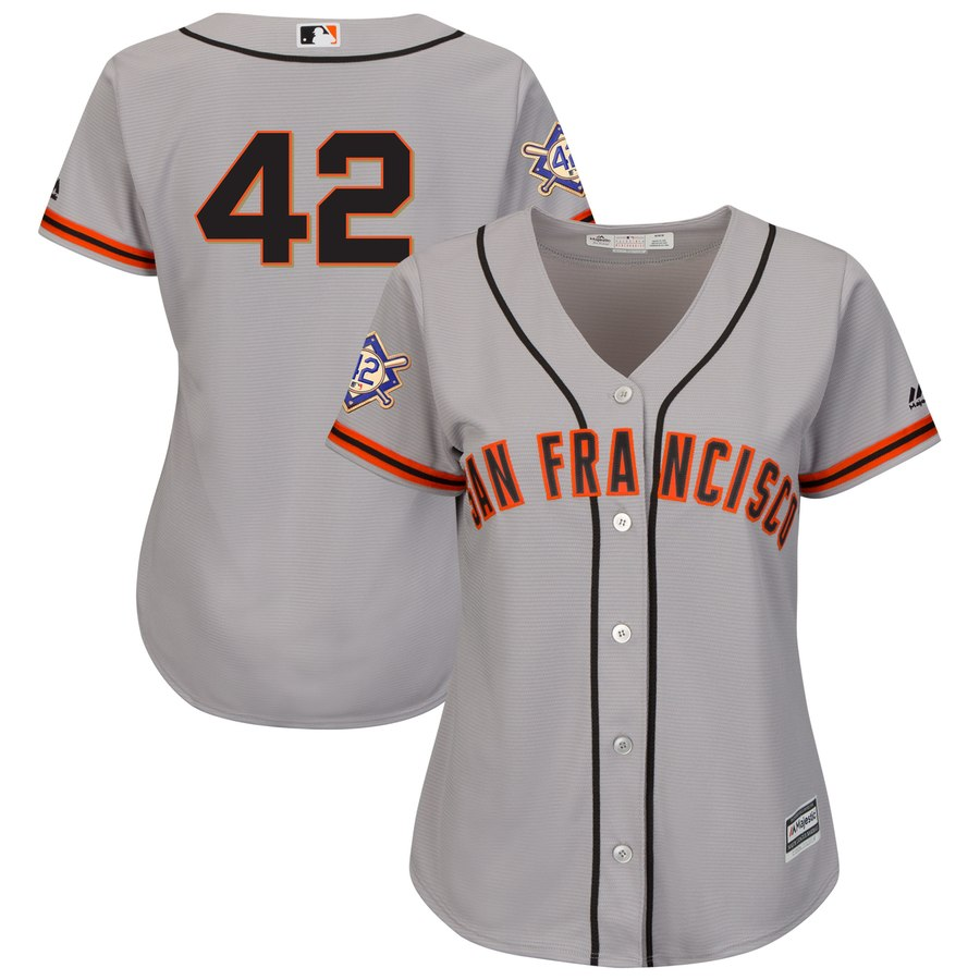 San Francisco Giants #42 Majestic Women's 2019 Jackie Robinson Day Official Cool Base Jersey Gray