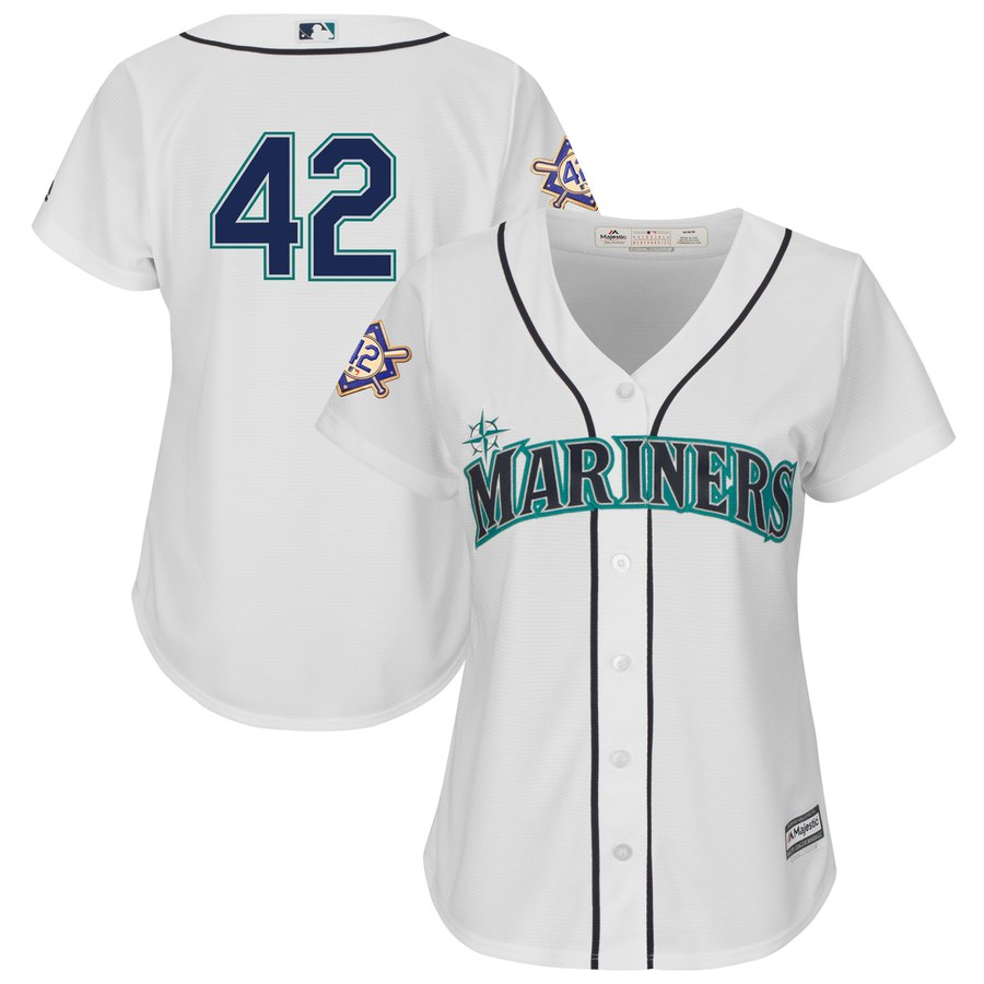 Seattle Mariners #42 Majestic Women's 2019 Jackie Robinson Day Official Cool Base Jersey White