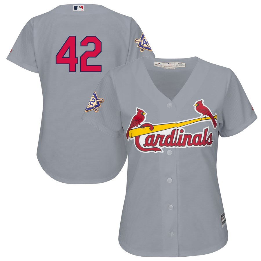 St. Louis Cardinals #42 Majestic Women's 2019 Jackie Robinson Day Official Cool Base Jersey Gray
