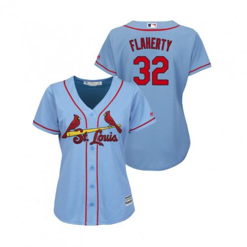 Cardinals #22 Jack Flaherty Light Blue Alternate Women's Stitched MLB Jersey