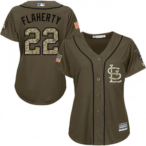 Cardinals #22 Jack Flaherty Green Salute to Service Women's Stitched MLB Jersey