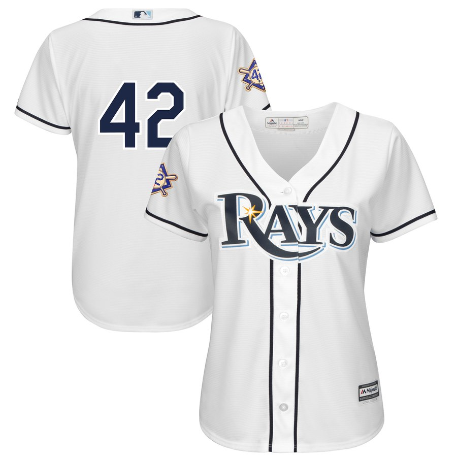 Tampa Bay Rays #42 Majestic Women's 2019 Jackie Robinson Day Official Cool Base Jersey White