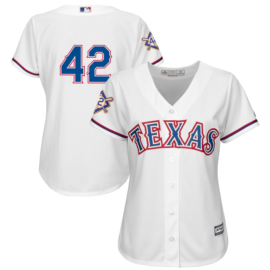 Texas Rangers #42 Majestic Women's 2019 Jackie Robinson Day Official Cool Base Jersey White